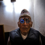 Diktel (Eastern Nepal), an elderly patient having his eyes examined by a doctor of the Sagarmatha Choudhary Eye Hospital of Lahan