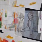 L'atelier di Lucia Conversi, particolare dei disegni preparatori per Pinocchio, photo Marta Santacatterina / detail of the preparatory drawings for Pinocchio