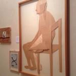 Veduta della mostra Sfogliare Stanze (Parma, 2014), particolare con opera di Mario Ceroli / View of the exhibition Browsing Rooms (Parma, 2014), detail with the work by Mario Ceroli