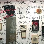 Veduta della mostra Sfogliare Stanze (Parma, 2014), particolare della parete di Giosetta Fioroni / View of the exhibition Browsing Rooms (Parma, 2014) detail of the wall by Giosetta Fioroni